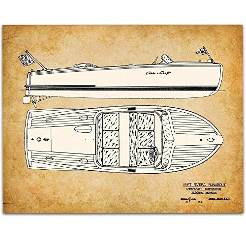 1950 Chris-Craft Riviera Runabout - 11x14 Unframed Patent - Perfect Beach House or Cabin Decor and Great Gift Under $15 for Water Sports Enthusiasts from Personalized Signs by Lone Star Art
