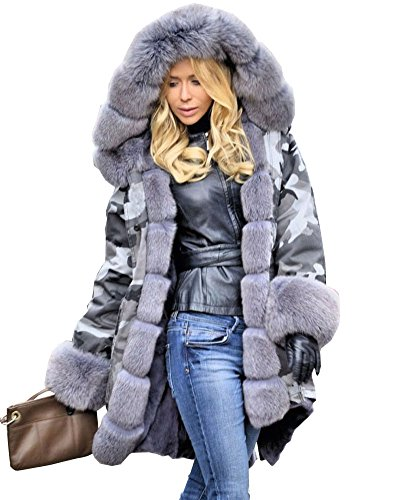 Aox Women Hood Coat Faux Fur Thicken Lined Overcoat Winter Camo Plus Size Jacket Snow Parka Outwear (3X-Large, Grey Fur Camo)