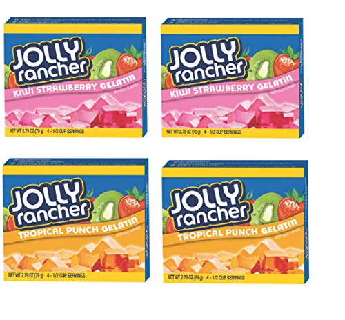 Jolly Rancher Party Flavor Gelatin - STRAWBERRY KIWI and TROPICAL PUNCH, 2.73oz Box (Pack of 4)
