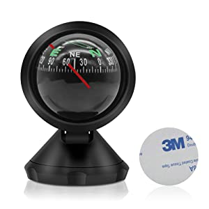 Leagway Car Compass Ball, Mini Compass Compact Ball Compass with Adhesive and Delicate Decoration, Perfect for Finding Direction, Universal Dashboard Dash Stand Compass for Most Boat Car Truck