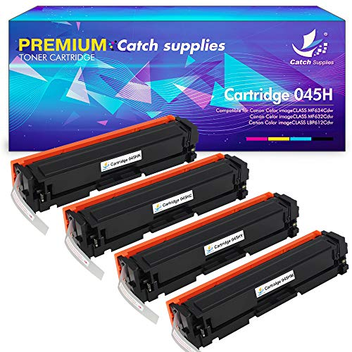 Catch Supplies Compatible Toner Cartridge Replacement for Canon 045 045H MF634Cdw MF632Cdw Toner for Canon Imageclass MF634cdw MF632cdw LBP612cdw MF632c MF632 MF634 LBP612 Color Laser Printer Ink -4PK