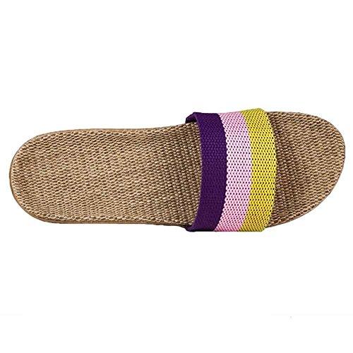 Advogue Zapatillas Casa de lino Tela a Rayas Unisex púrpura