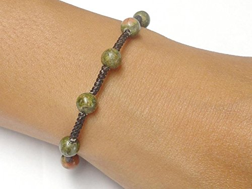 (Womens Unakite Gemstone BEAD Fair Trade Macrame Wax COTTON Bracelet Thai Jewelry)