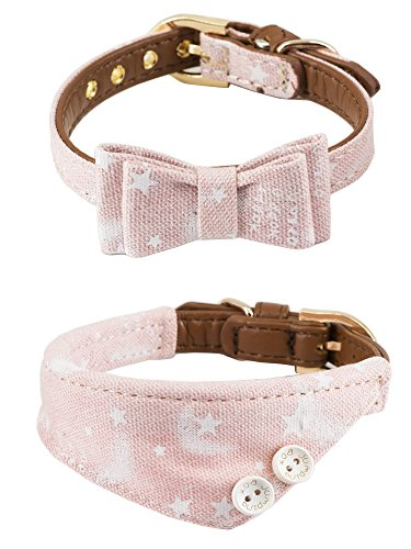 (Gyapet Collar for Cat Small Dog Bandana Bowtie Puppy Kitten 2 Packs Adjustable Scarf Cute Camo Stars-Pink)