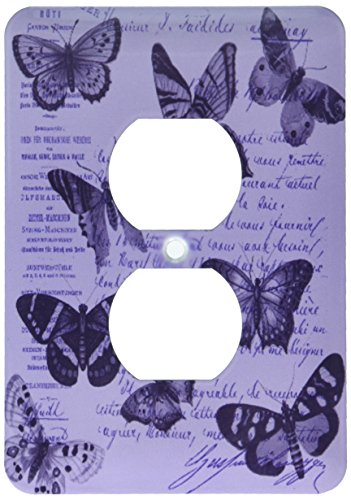 3dRose lsp_178894_6 Vintage Butterflies Purple French Typography Light Switch ()