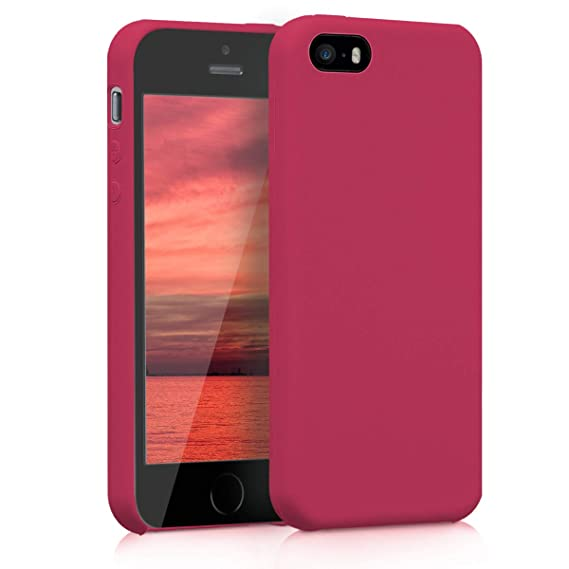 kwmobile TPU Silicone Case for Apple iPhone SE / 5 / 5S - Soft Flexible Rubber Protective Cover - Fuchsia Matte