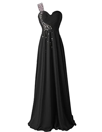 Dresstells reg; Ruffles One Shoulder Evening Party Formal Prom Dress Beaded Empire Long Chiffon Dress