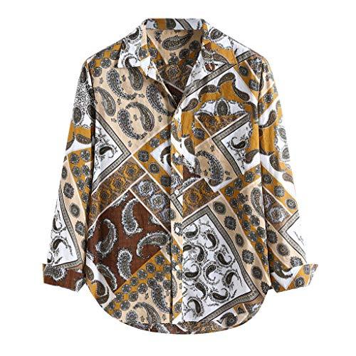 Hawaiian Shirt for Men,ONLT TOP Men Floral Button Down Long Sleeve Aloha Hawaiian Palm Flower Printed Shirt Yellow