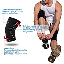 Knee Compression Sleeve Brace (1 Pair) Supprt Wrap for Running Men Women, Jogging, Sports, Hiking, Joint Pain Relief, Arthritis,Tendonitis Joint, Improved Circulation, Injury Recovery by ASOONYUM