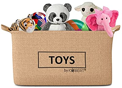 X-Large Jute Storage Bin Toy Basket Organizer 20x12x11 inches, Collapsible Box with Handles, Reversible Design, Water-resistant, Perfect for Living Room, Kitchen, Kids and Baby Room, Nursery.