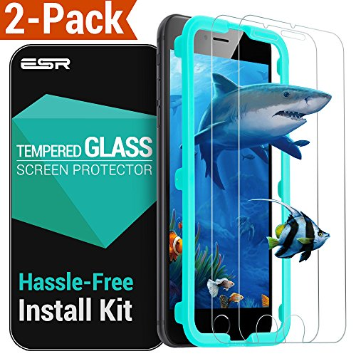 """iPhone 7 6S 6 Screen Protector 2-Pack, ESR [9H Tempered Glass/Oleophobic Coating/Self-Installation Tool] 0.33mm HD Clear Premium Anti-Scratch Anti-Fingerprint/Oil/Smudge for Apple iPhone 7 6S 6 4.7"""""""