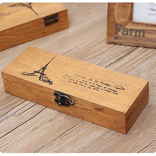 HaloVa Wooden Pencil Case, Wood Pen Pencil Storage Holder Stationery Box, Retro Eiffel Tower Student Tools Storage Box