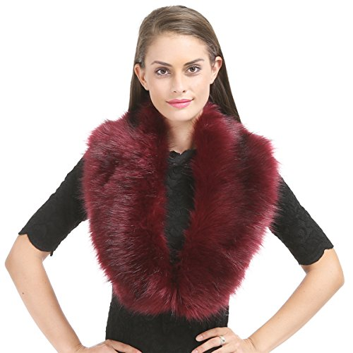 Review Lucky Leaf Women's Winter Fake Faux Fur Stole Scarf Wrap Collar Shawl Shrug for Weeding Evening Party (Burgundy)