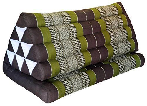 Thai triangle cushion XXL, with 1 folding seat, brown/green, sofa, relaxation, beach, pool, meditation, yoga, made in Thailand. (82016) by Wilai GmbH