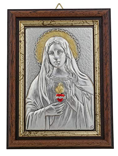 Venerare Devotional Wall Plaque with Wood Frame and Gold Highlights (Immaculate Heart of Mary) ()