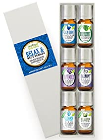 Relax & Rejuvenate Set 100% Pure, Best Therapeutic Grade Essential Oil Kit - 6/10mL (Calm Body/Calm Mind, French Lavender, Harmony, Peppermint, Cleanse Body & Mind , and Relaxation)