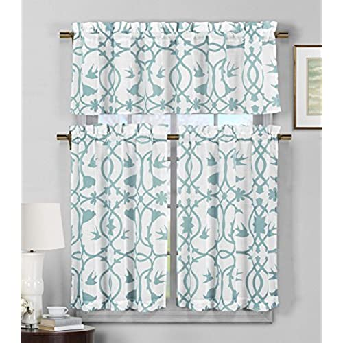 Duck 3 Piece Semi Sheer Window Curtain Set Botanical DesignTeal Blue And White1 Valance 56W X 16H 2 Tiers 28W 36H Each