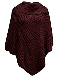 Thever Women Ladies Plain High Neck Wrap Knitted Poncho Cape Shawl Sz 8-26
