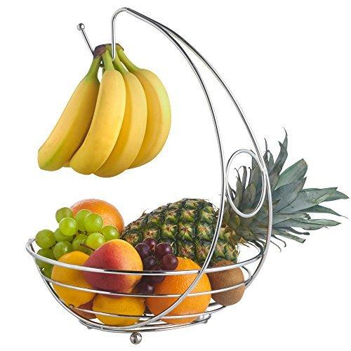 cromo soporte de fruta con gancho de suspensi/ón de pl/átano St@llion Cesta de exhibici/ón de alambre de frutero