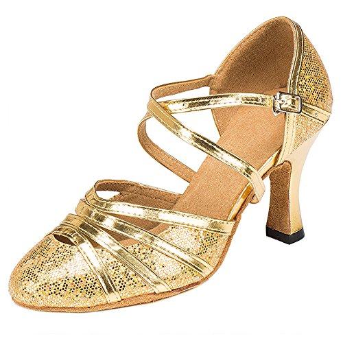 Haodasi Frauen Lady Ballroom lateinisch Satin Tanzschuhe Comfort Cha-Cha Tango Dancing Shoes Gold 6cm