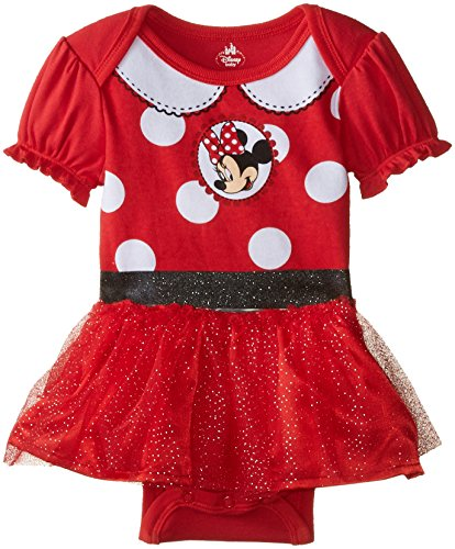 [Disney Baby Baby-Girls Newborn Minnie Mouse Character Theme Bodysuit with Tutu Skirt, Red, 3-6] (Dress Up Themes)
