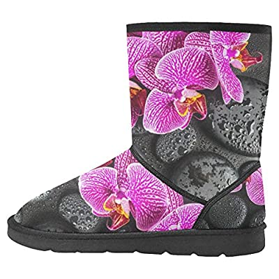 InterestPrint Women's Snow Boots Unique Designed Comfort Winter Boots Blooming Twig of Stripped Violet Orchid on Zen Stones with Drops