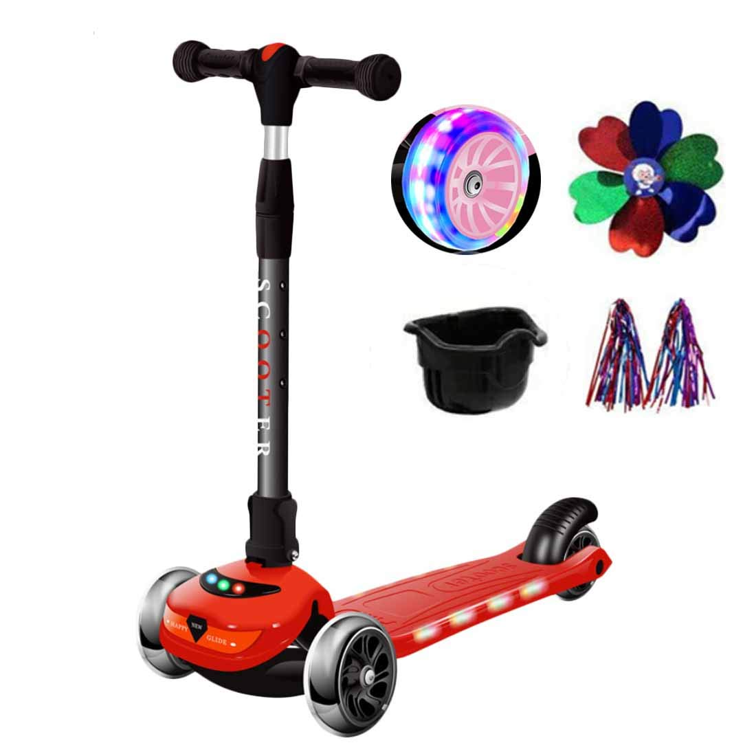 MYMGG Kick Scooter Adjustable Height Foldable Scooters Best Gift for Age 3 up Kids Girls Boys Teens,Red2