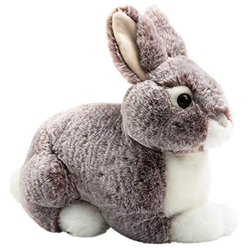 HollyHOME Plush Rabbit Stuffed Animal Super Soft Realistic Wild Bunny 10 Inches Brown