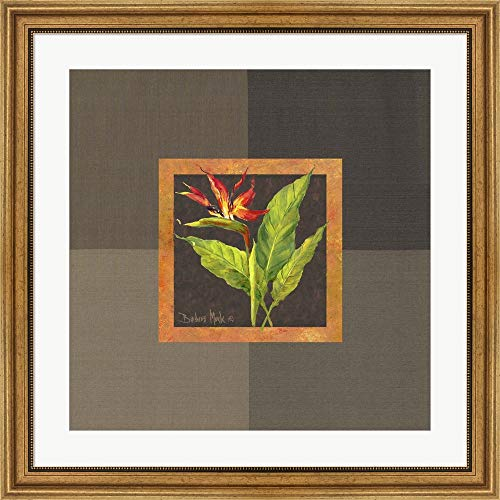 Barbara Tropical Print - Tropical Treasures II by Barbara Mock Framed Art Print Wall Picture, Wide Gold Frame, 30 x 30 inches