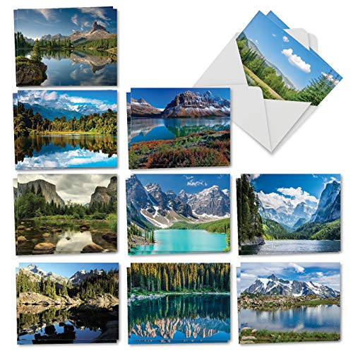 Reflections: 20 Assorted All Occasions NoteCards (Mini 4 x 5.12 inch) Feature Beautiful Landscapes, with Envelopes. ()