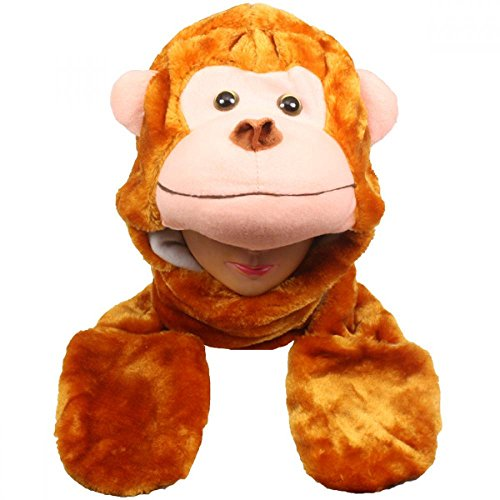 Monkey_(US Seller)New Plush Cartoon Hat Long Warm Full Hoodie Hat