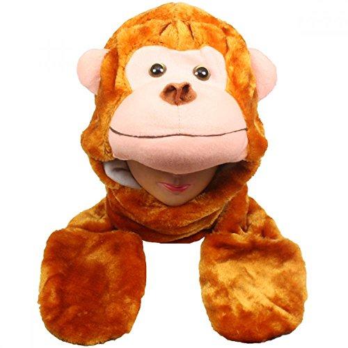 Monkey_(US Seller)New Plush Cartoon Hat Long Warm Full Hoodie (Lab Monkey Costume)