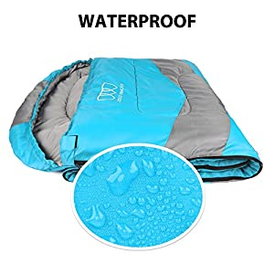 Sleeping Bag – Sleeping Bag for Indoor & Outdoor Use - Great for Kids, Boys, Girls, Teens & Adults. Ultralight and Compact Bags for Sleepover, Backpacking & Camping (Sky Blue / Gray - Left Zipper)