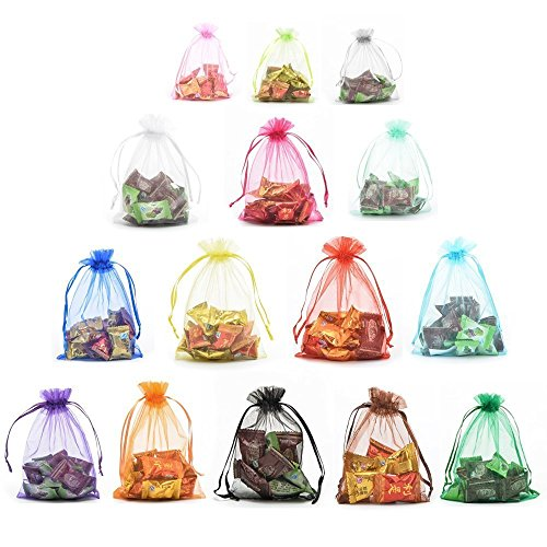 Halulu 100pcs 5'x7' Assorted Colors Drawstring Organza Drawstring Bags Jewelry Party Wedding Favor Gift Bags