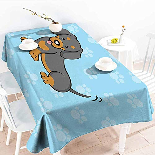 Onefzc Small Rectangular Tablecloth,Dachshund Puppy Cartoon with Happy Expression on Its Face Paw Print Background,High-end Durable Creative Home,W60X90L Blue Brown Dark Taupe