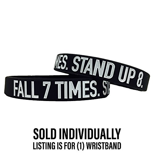Elite Athletic Gear Motivational Wristbands - Standard & Youth Sizes! Perfect for Fitness, Sports, Work, Life. Wear Your Motivation! (Fall 7 Times. Stand UP 8, Standard)
