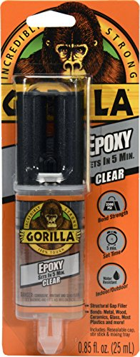 Gorilla 2 Part Epoxy, 5 Minute Set, .85 ounce Syringe, Clear