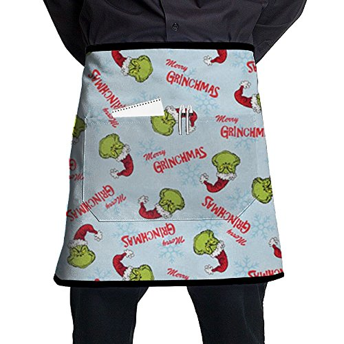 Merry Christmas Bingo - POIUYDG Christmas Merry Grinchmas Pattern Kitchen Apron With Pocket Half Length Short Waist Apron With Pocket For Men And Women