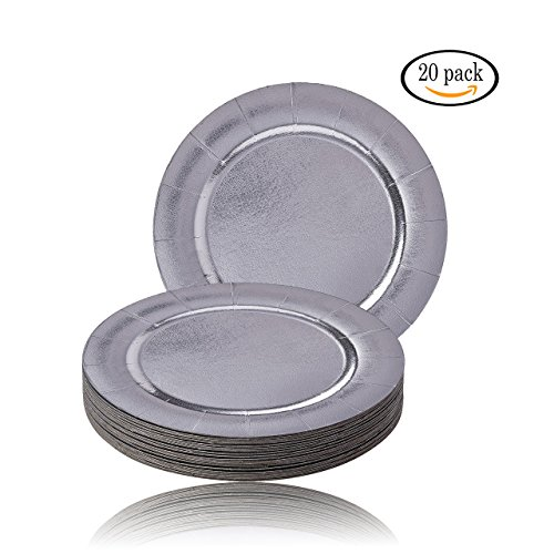 Silver Spoons 1823-SiS Disposable Charger Plates, 20 PC, Silver