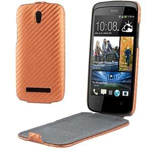 Carbon Fiber Texture Funda Vertical Con Tapa Piel Case Carcasa Para HTC Desire 500 506e (Copper)