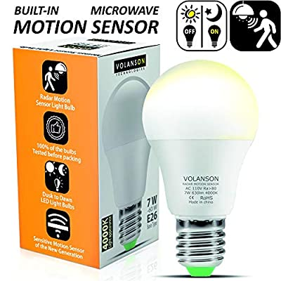Motion Sensor Light Bulb Outdoor - Led Bulbs wiht Smart Highly Sensing Radar 360 Motion Activated Detector E26 Base Best for Porch Garage Basement Indoor Outside 7W 4000K