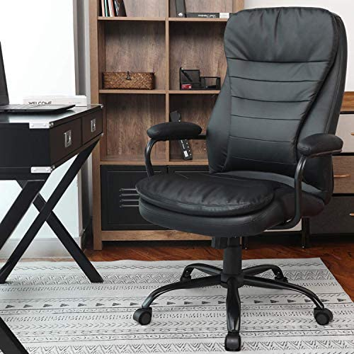 Office Chair Heavy Duty Executive Computer Chair Adjustable Desk Chair with Armrest 350lbs Capacity with SGS BIFMA Certified in Black