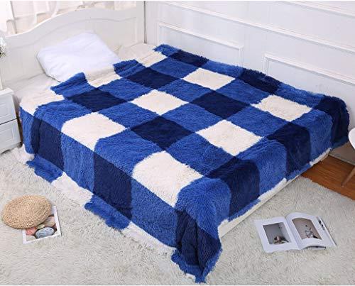 (WSI Blankets, Woollen Blanket Baby Blanket Crystal Short Plush Sofa Blanket Stripe Travel 200230cm / Blue)