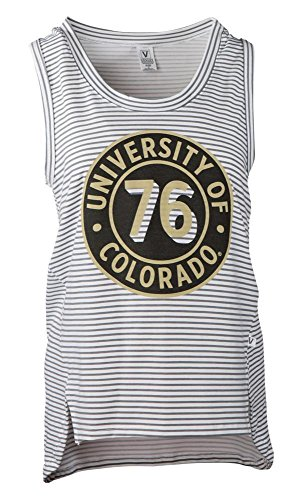 Official NCAA University of Colorado Buffaloes CU Fight Buffs Women's Stripe Ath Lesiure Tank Top