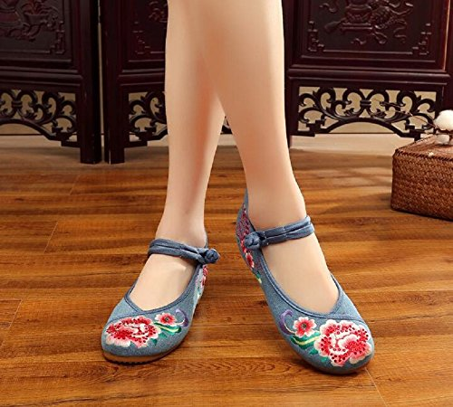Vintage Dress Embroidery Jane Blue Women Canvas Shoes Chinese Mary Lady style Lazutom Ix8gn