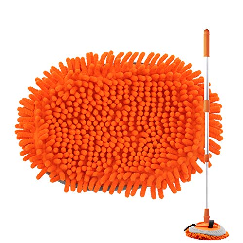 Sfumoc 2 in 1 Extendable Car Wash Brush Kits Mop with Long Handle, Chenille Microfiber Car Cleaning Kit Brush Duster…