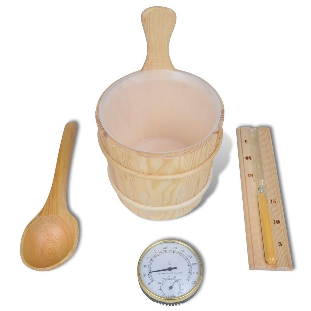 vidaXL Accessori Sauna 5 pz Secchio ed Inserto Cucchiaio Clessidra Termometro 12542