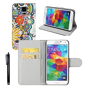 Funda de piel sintética Hunye flores (número 2) para Samsung Galaxy S5I9600cubierta protectora con lápiz capacitivo