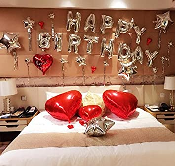 Haperlare 16 Inch Silver Letter Balloons Happy Birthday Balloon Letters Alphabet Foil For