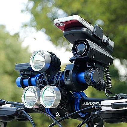 Linghuang Manubrio Bicicletta Estensore Doppio Stelo Rack Staffa in Alluminio con Bracket in Fibra di Carbonio Risparmio di Spazio per Bicicletta Accessori Tachimetro Torcia Lampada Telefono Supporto